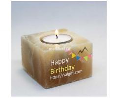 Salz Kerzenhalter, Teelichthalter aus Himalaya-Salz
