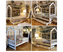 Hausbett Bella Doppelbett, Schubladen + zweiter Schlaf Holz