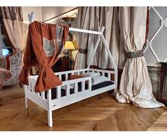 Hausbett TIPI mit Sicherheitsbarrieren für Kinder 180 x 80