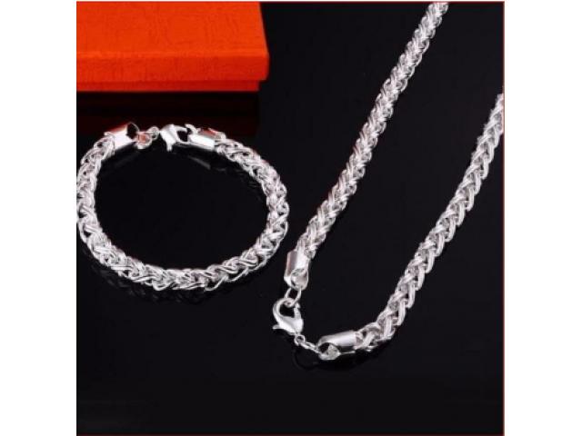 Silber-SET TWIST Halskette und Armband wunderschön NEU - 1/3